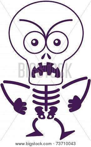 Angry Halloween skeleton feeling furious and protesting