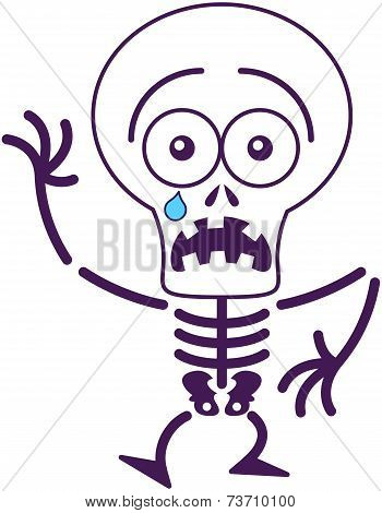Cute Halloween skeleton feeling scared
