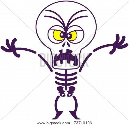 Furious Halloween skeleton being scary