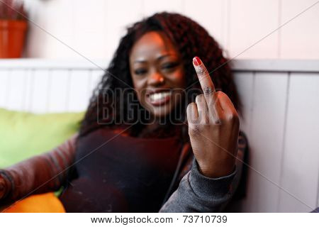 Young Woman Making A Rude Gesture
