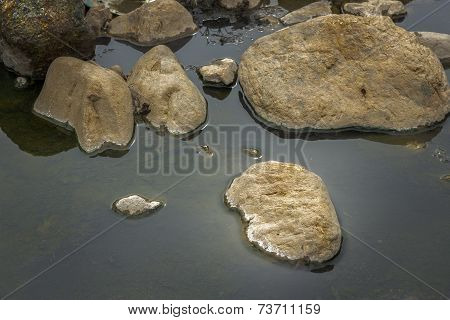 Brown Natural  Rocks In  Water Stream Background.