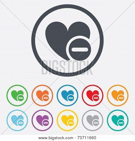 Heart sign icon. Remove lover symbol.