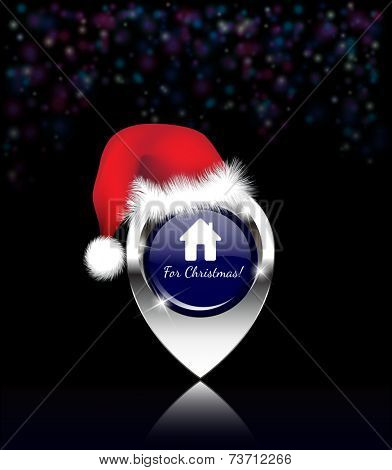 Home for Christmas message, on a shiny silver map pin, with Santa hat and dark bokeh background. EPS10 vector format