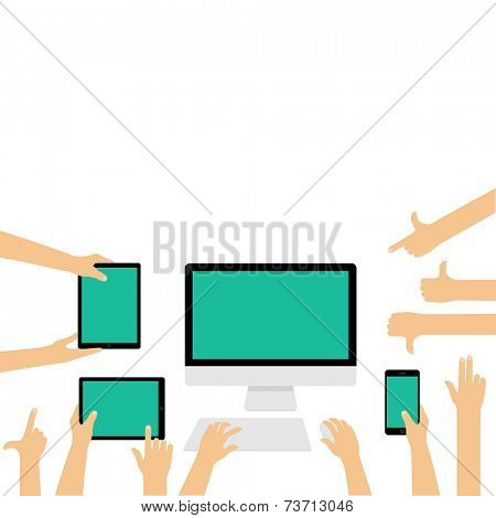 Empty displays for responsive website presentation on different devices with hand gestures - flat design illustration isolated on white background