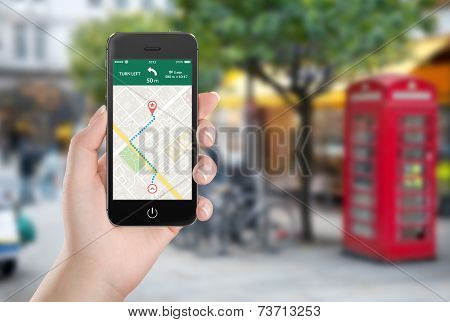 Map Gps Navigation Application On The Smartphone Screen In Female Hand