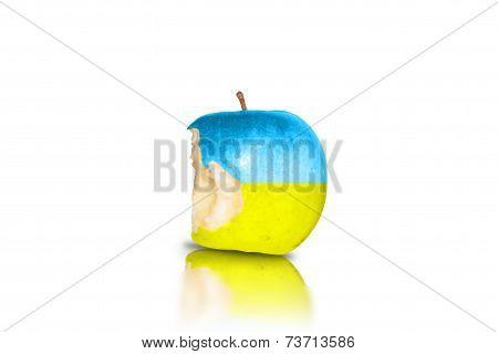 Ukrainian half biten apple on isolated white background