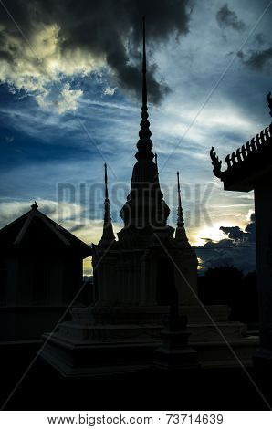 Silhouette Roof of Thai s Temple