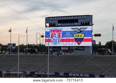 HARTFORD - OCTOBER 10:  Rentschler Field stadium before socce match between US Men`s National Team vs Ecuador, on October 10, 2014, in Rentschler Field stadium, Hartford, USA.