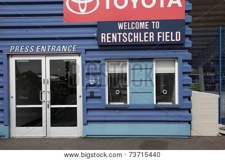HARTFORD - OCTOBER 10:  Press entrance at Rentschler Field stadium between US Men`s National Team vs Ecuador, on October 10, 2014, in Rentschler Field stadium, Hartford, USA.
