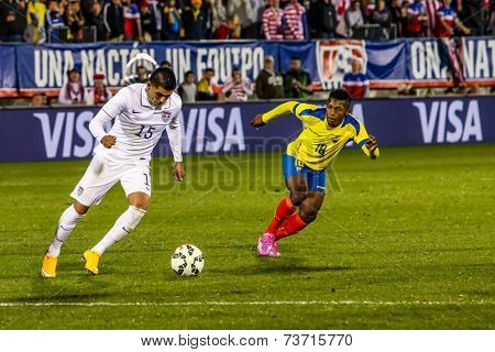 HARTFORD - OCTOBER 10: Action on US Men`s International Friendly match between US Men`s National Team vs Ecuador, on October 10, 2014, in Rentschler Field stadium, Hartford, USA.