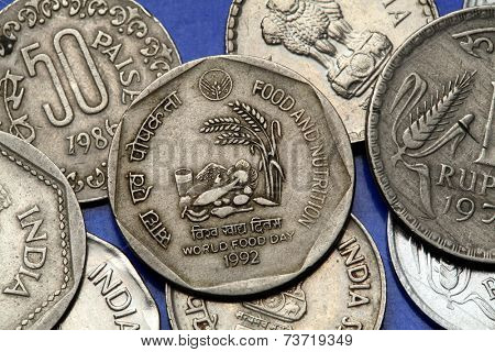 Coins of India. Indian one rupee coin from 1992 dedicated to World Food Day.