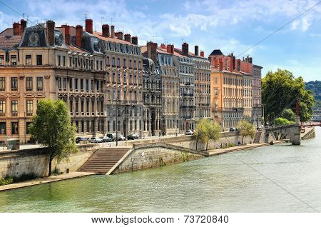 Row Of Buildings On River Saone