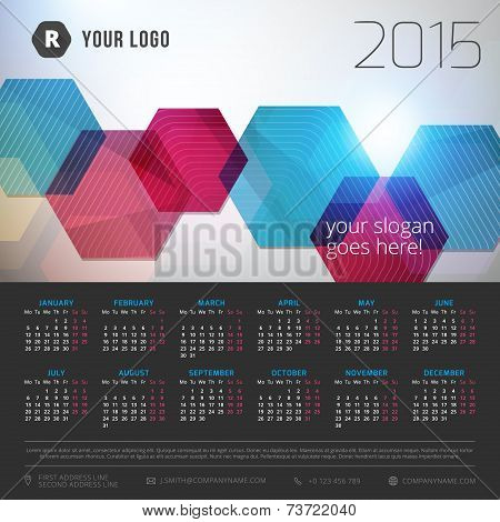Calendar 2015 Vector Template Week Starts Monday
