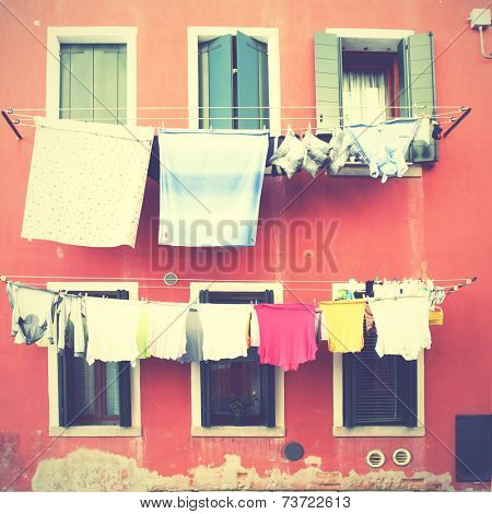Clothes airing outdoor in Venice, Italy. Instagram style filtred image
