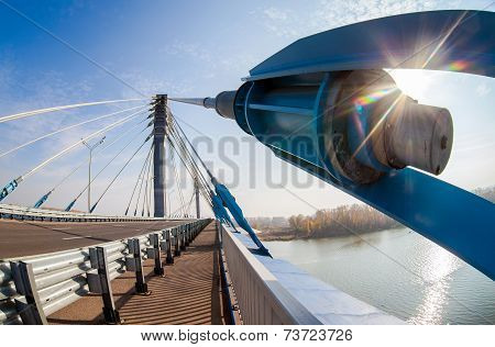 Kirovsky Cable Bridge Across The Samara River In Kirovsky District Of Samara City, Russia. Length Of