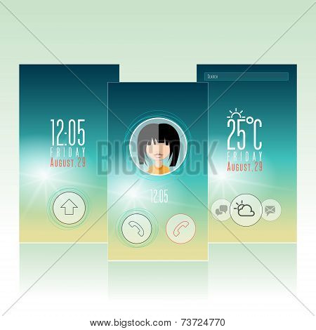 Mobile Weather Widget Interface icon and Wallpaper Background Vector Design Template with avatar.