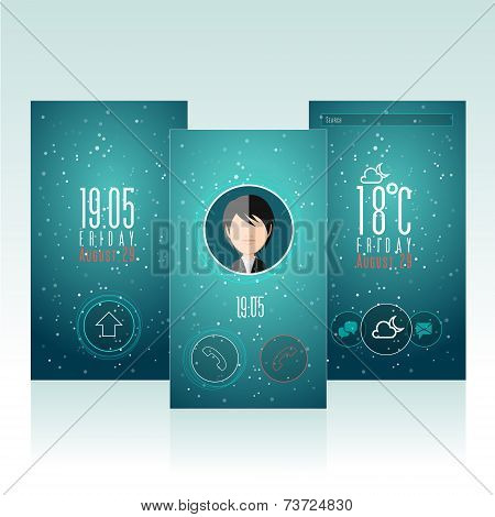 Interface and app design template with avatar. Mobile Smart phone touch screen.
