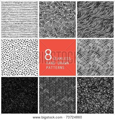 8 seamless hand-drawn patterns