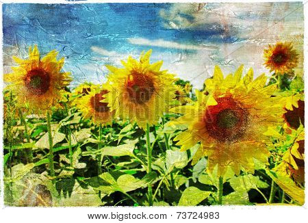 sunflowers - artistic picture in painting style