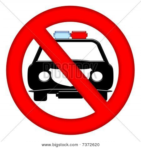 No Police Cars Area Sign