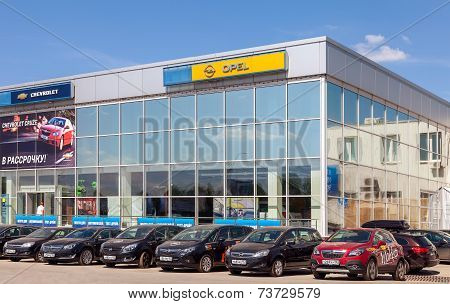 Samara, Russia - May 24, 2014: Office Of Official Dealer Opel. Opel Is A German Automobile Manufactu
