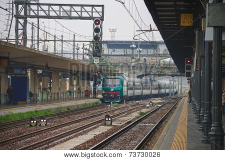 The Train Arrives At  Bologna Station In  Italy