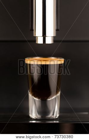 Espresso shot from exclusive coffee machine