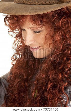 Woman Red Hair Hat Close Look Down