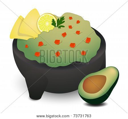 Guacamole In Traditional Mexican Molcajete