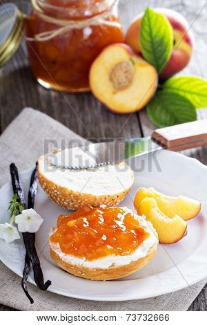 Vanilla peach jam on bread