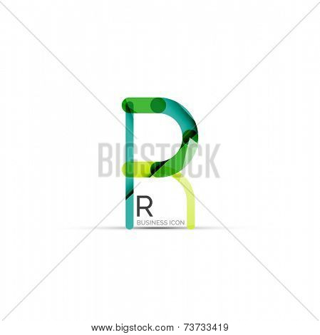 Minimal R font or letter logo design isolated on white