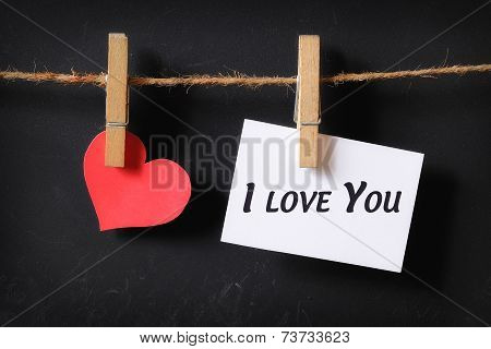 Heart With I Love You Poster Hanging