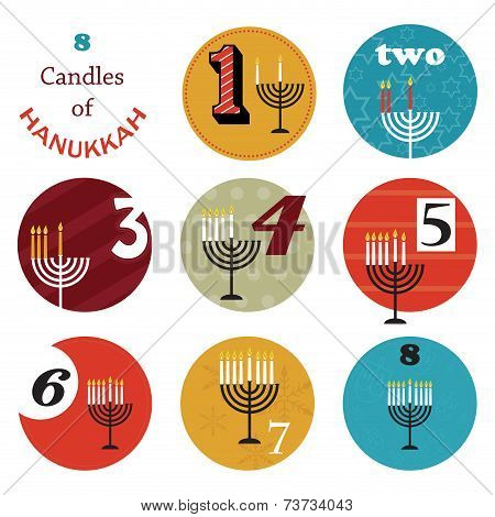 hanukkah, 8 candles for eight day holiday