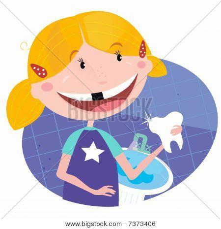 Menina com dentes na casa de banho