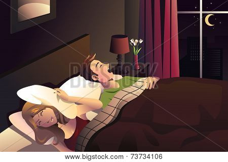 Snoring Man  In The Bedroom