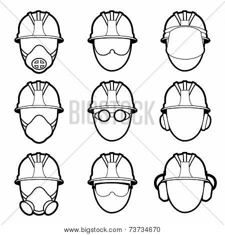 human protective work wear icon set