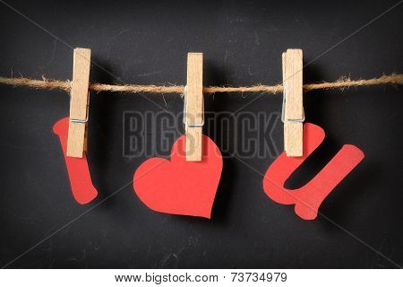 I Love U Hanging On Blackboard