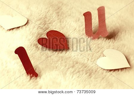 I Love U On Wool Background Vintage