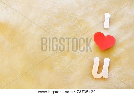 I Love U On Wool Background