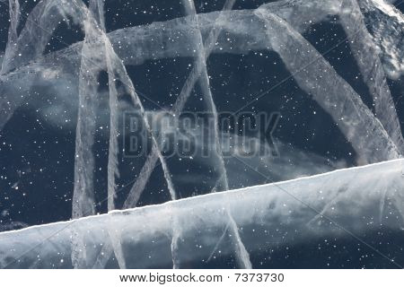 Spider Web Of Tension Cracks In Thick Layer Of Ice