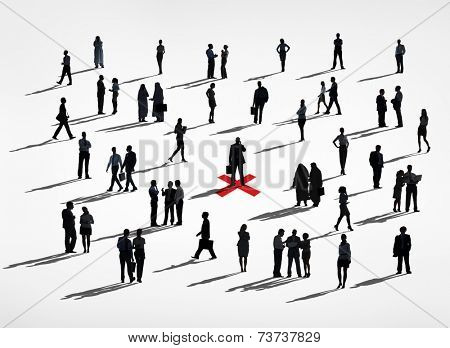 Lone Silhouettes Of A Business Man In A Center Amongst Group Of Silhouettes Of Business People