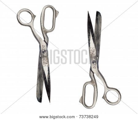 Large dressmaking or tailoring scissors, isolated