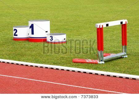 Track Lanes, Winner's Podium, Hurdles
