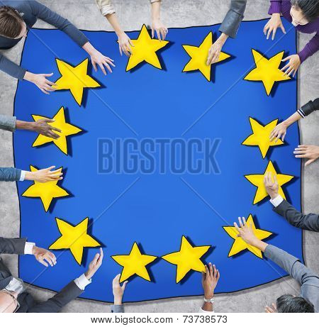 Aerial View with Business People and European Union Flag