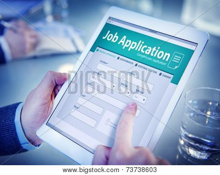 Hands Holding Digital Tablet Job Application
