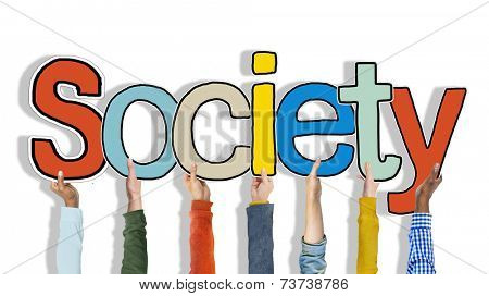 Multiethnic Group of Hands Holding Word Society