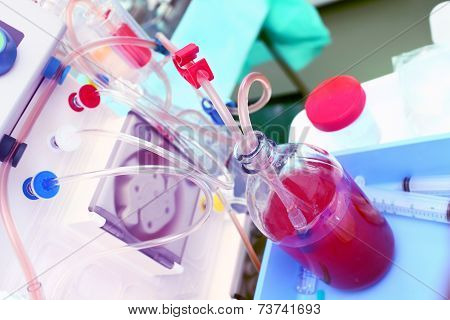 Laboratory Equipment. Tubes, Blood, Roller Pump.