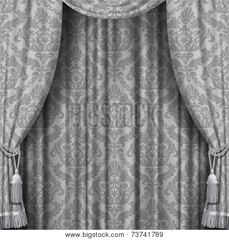 Vector image of gray curtain with Baroque ornament. Square theater background. Artistic poster