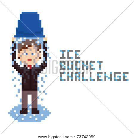 pixel art drawn businessman in dark brown suit doing Ice Bucket Challenge.