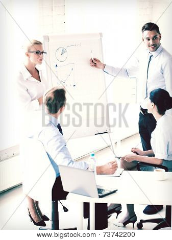 young businessman pointing at graph on flip board in office
